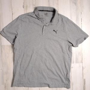 Mens Puma Grey Athletic Polo Shirt Golf